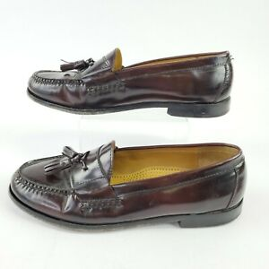 Cole Haan Men Pinched Burgandy Leather Loafer With Tassel Mens Size 10 D Slip On