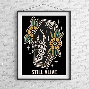 Still Alive Art Print - Alternative Suicide Girl tattoo Tattoo Nirvana rebel