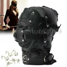 Lockable Leather Gimp Bandage Hood Sensory Deprivation Mask Mouth Gag Blindfold