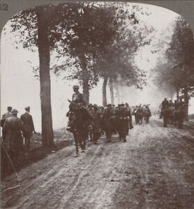 WW1. French 75s Moving Up During Attack on Thiepval Ridge Passing Hun Prisoners
