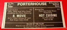 "B Movie/Hot Cuisine Gig Vintage ORIGINAL 1981 Press/Magazine ADVERT 4""x 2"""