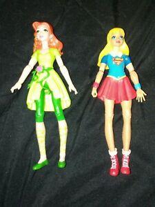 "DC Super Hero Girl High School Playset Supergirl Poison Ivy 6"" Action Figure Lot"