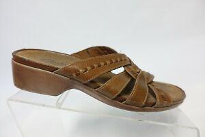 CLARKS Bendables Brown Sz 8 M Women Leather Slide Sandals