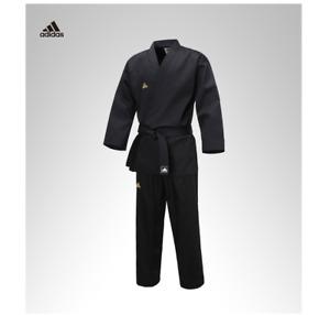 ADIDAS TKD Taekwondo Uniform Black Open Dobok Boy's Champion Gi Hapkido Aikido