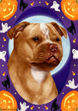 Staffordshire Terrier Orange & White Halloween Howls Flag