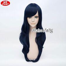 Mixed Dark Blue Lolita Anime  Long Women Cosplay Wavy Party 70CM Hair Wig