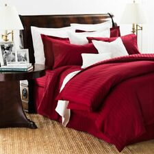 CHAPS HOME DAMASK STRIPE 100% Pima Cotton 500TC Sateen QUEEN BEDSKIRT Red NEW