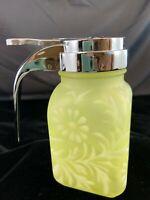 Fenton Art Glass Vintage Vaseline Glass Daisy & Fern Syrup Pitcher