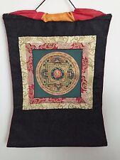 Elegant Kalachakra Mandala Tibetan Thangka Painting with Silk Brocade