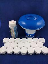 20g Chlorine Tablets Hot Tubs + Spa   Dispenser & pH Test Strips inc. Pack of 20