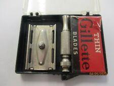 Vintage Gillette Razor Travel Kit  with 4  unused blades