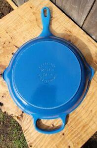 """Le Creuset 10 1/4"""" #26cm Cast Iron Skillet Blue Handled Pan"""