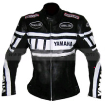 Yamaha bikers' Leather Jacket Men Women CE Approved Protections