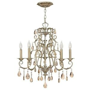 Hinkley Lighting Carlton 5 Light Chandelier 1 Tier Foyer, Silver Leaf - 4775SL