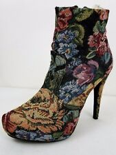 Diba Floral Tapestry Crochet High Heel Side Zip Ankle Women's Boots Size 9