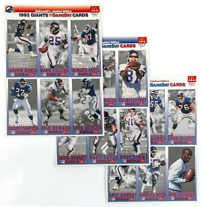 1993 NY Giants Game Day Cards, McDonald's Limited Edition Complete Set of 3