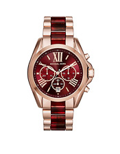 New Michael Kors Bradshaw Rose Gold Red Chronograph MK6270 Women Watch