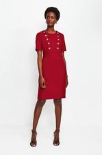 Karen Millen-Vestido Lápiz en día-Rojo-Nuevo Con Etiqueta-Talla 16