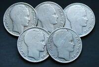 Lot de 5 Pièces Argent France 10 Francs Turin Années Variées (1929-1939)
