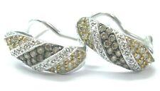 Natural Multi Color Brown & White Diamond White Gold Huggie Earrings 1.05Ct 14Kt