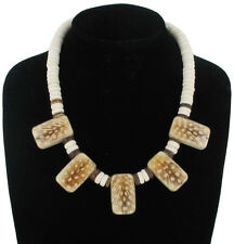 Necklace Fringe Natural Spotted Feather Wood Bead Brown White Tribal Handmade