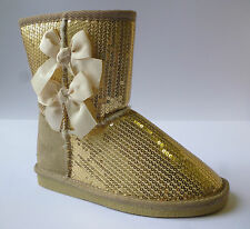 Pineapple Shannon Girls Gold Sequin Boots With Bow Detail Sizes 11 New