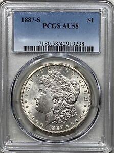 1887-S Morgan Silver Dollar $ PCGS AU 58