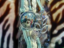 LA REINE DES NEIGES Très beau bracelet tressé avec médaillon et ornements