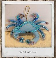 Blue Crab Felt Ornament Hand Sewn Beaded Sequined beach decor Christmas Ornament