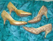 2 Pr Vintage Shoes Gold Lame Mandarins Beige Embroidery Socialite Dress Costume