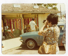 VINTAGE 70s PHOTO Woman w/ Camera Taking Pictures Of Shopping Vendor Booths