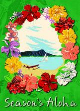 6 Hawaiian Holiday Cards - Hawaii Christmas - Hawaiian Christmas Lei