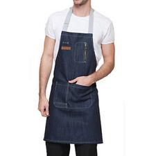 Blue/Black Denim Bib Apron with Pocket Strap Barber Barista Florist Chef Uniform
