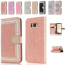 For Samsung Galaxy Phones Diamond Magnetic Leather Wallet Card Case Stand Cover