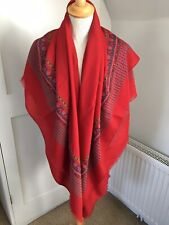 Vintage Wool Barth Shawl Large Scarf Red Classic Similar To Liberty