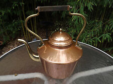 Antique-1930~European~Portugual copper and brass handle teapot kettle~Signed~VGC