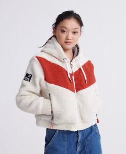 Superdry Womens Orange Label Hybrid Retro Zip Hoodie Size 10