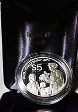 New Zealand 2001 $5 Silver Proof:  Royal Visit (Cancelled After Coin Issued)