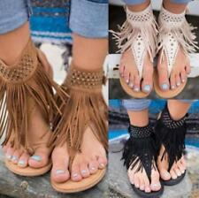 Womens Tassels Rhinestones Gladiator Sandals Flats Ankle Flip Flop Shoes Beach