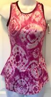 GK SLVLS PINK TIE-DYE FIGURE SKATE ADULT SMALL FOIL PRINT VELVET DRESS AS NWT