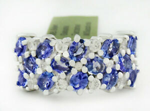 GENUINE 2.80 Cts TANZANITE & WHITE SAPPHIRE RING .925 SILVER * New With Tag *
