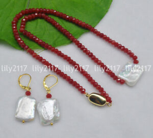 Natural 15X20mm White Baroque Pearl Faceted 2x4mm Red Ruby Necklace Earrings Set