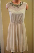 Pinky Size S / M Off White Ivory Champagne Lace Dress Flowy Collar Embellished