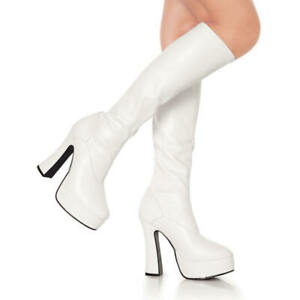 Womens Ladies Fancy Dress 60's 70's Knee High Eyelet Platform Disco go go boots