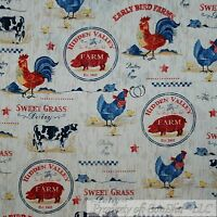 BonEful Fabric FQ Cotton Quilt VTG Brown Wood Grain Farm Cow Pig Hen Red Rooster