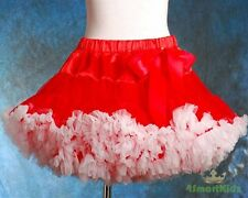 Tulle Pettiskirt Tutu Skirt Dancewear Party Holiday Girl Red White Size 3-4 002A
