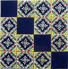 W178 - 16 Mexican Talavera Tiles Ceramic Hand-made 4x4""