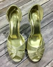 Michaelangelo Womens Twilight Peep Toe Cut Out Heels 8.5M Gold Formal Pumps EUC