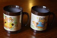 Lot of 2 Vintage Shirt Tales Plastic ThermoServ Coffee Mugs