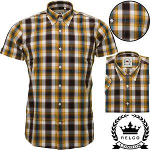 Relco Mens Mustard Brown Check Short Sleeve Button Down Shirt Spring '21 Range